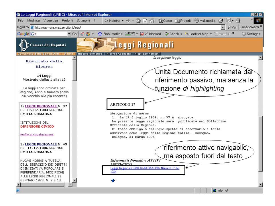 Unità Documento richiamata dal riferimento passivo, ma senza la funzione di highlighting riferimento attivo navigabile, ma esposto fuori dal testo