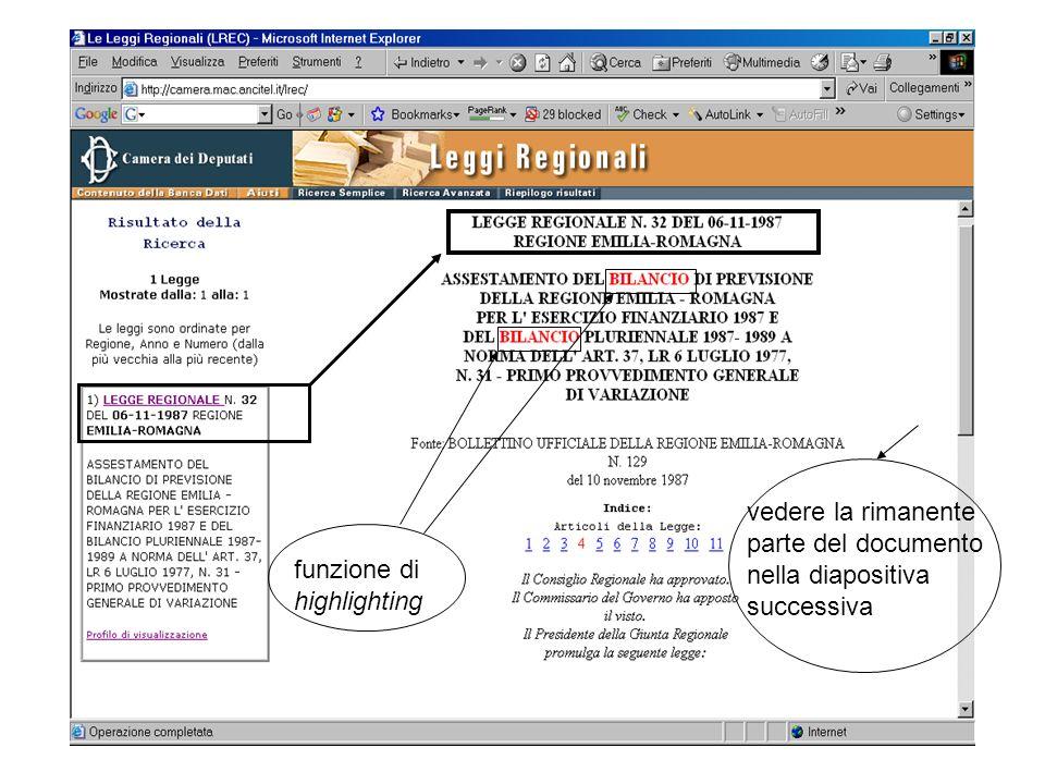 funzione di highlighting vedere la rimanente parte del documento nella diapositiva successiva