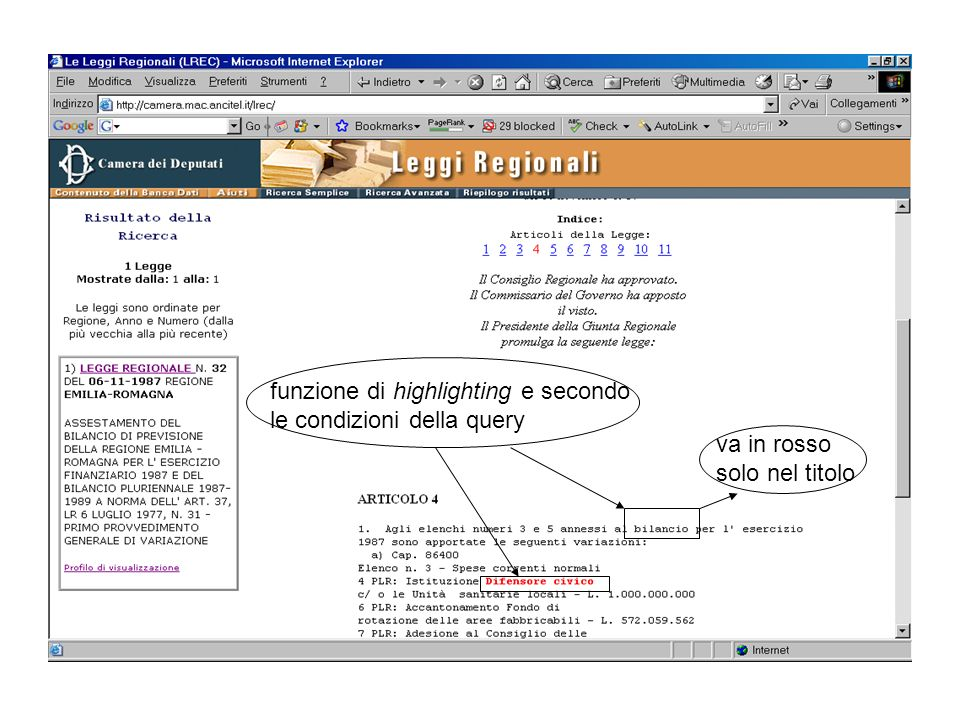 funzione di highlighting e secondo le condizioni della query va in rosso solo nel titolo