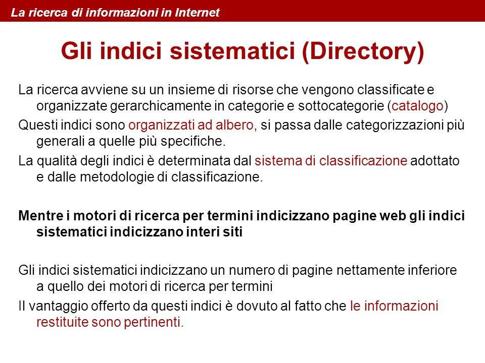 Gli indici sistematici (Directory) La ricerca avviene su un insieme di risorse che vengono classificate e organizzate gerarchicamente in categorie e s