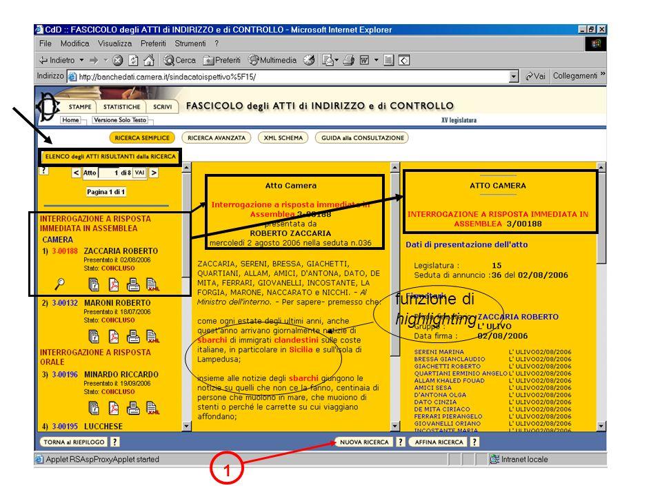 1 funzione di highlighting