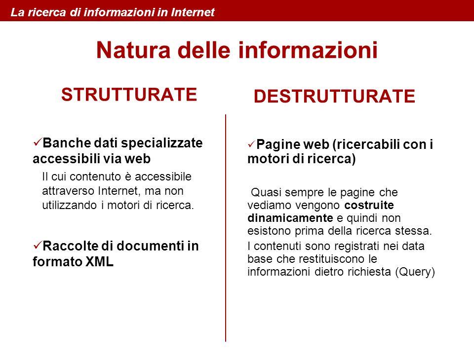 STRUTTURATE Banche dati specializzate accessibili via web Il cui contenuto è accessibile attraverso Internet, ma non utilizzando i motori di ricerca.