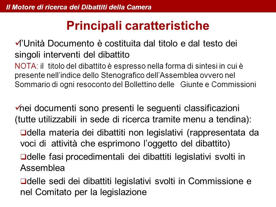 lUnità Documento è costituita dal titolo e dal testo dei singoli interventi del dibattito NOTA: il titolo del dibattito è espresso nella forma di sint