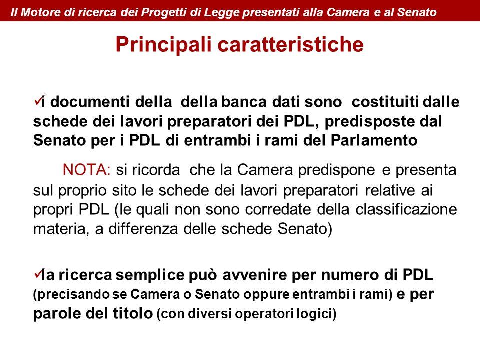 i documenti della della banca dati sono costituiti dalle schede dei lavori preparatori dei PDL, predisposte dal Senato per i PDL di entrambi i rami de