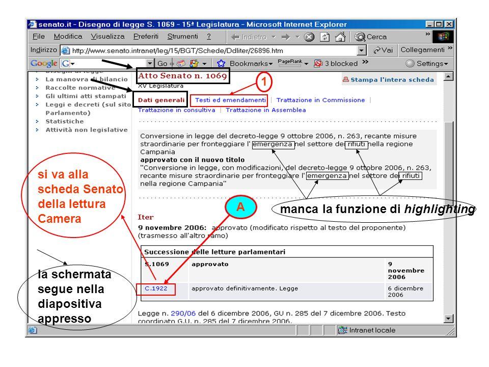 si va alla scheda Senato della lettura Camera 1 la schermata segue nella diapositiva appresso A manca la funzione di highlighting