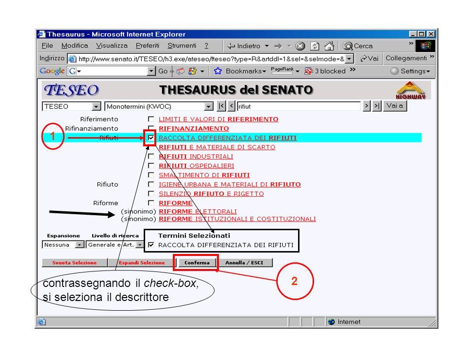 1 2 contrassegnando il check-box, si seleziona il descrittore