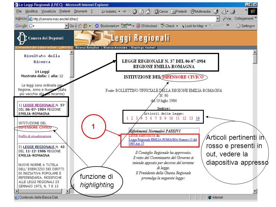 Articoli pertinenti in rosso e presenti in out, vedere la diapositiva appresso 1 funzione di highlighting