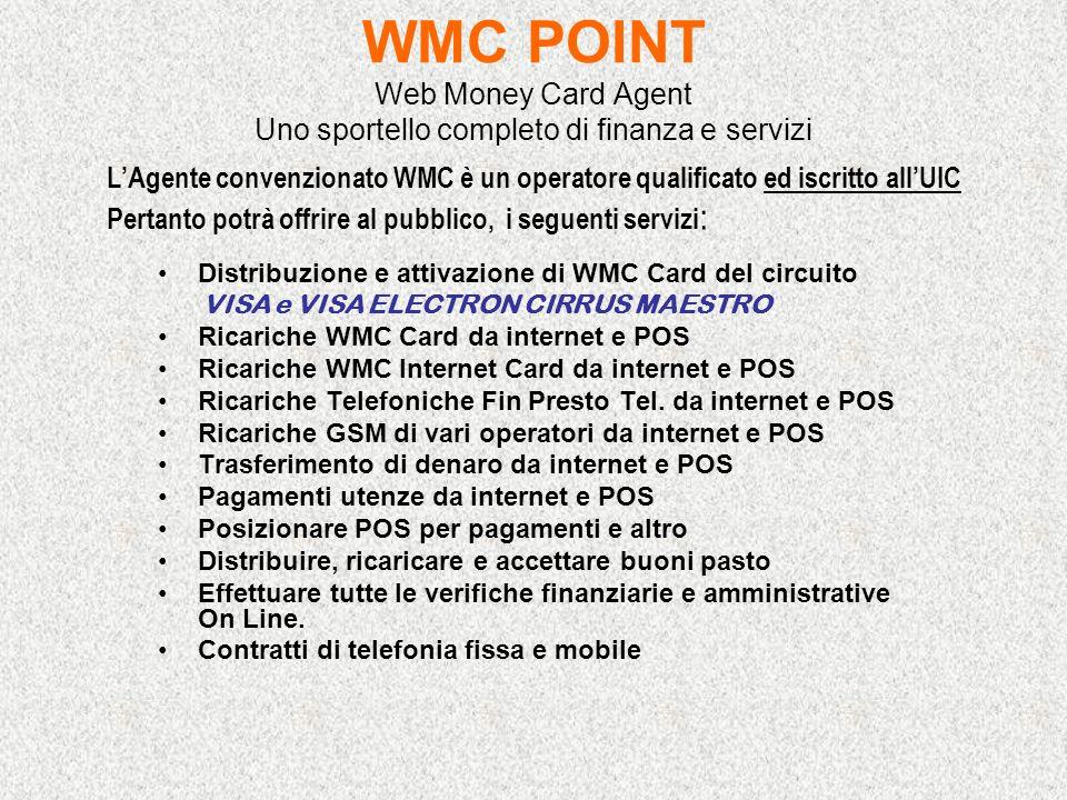 WMC POINT Web Money Card Agent Uno sportello completo di finanza e servizi Distribuzione e attivazione di WMC Card del circuito VISA e VISA ELECTRON C
