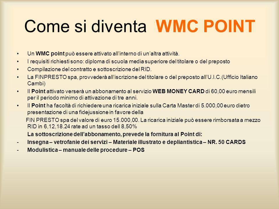 Come si diventa WMC POINT Un WMC point può essere attivato allinterno di unaltra attività. I requisiti richiesti sono: diploma di scuola media superio