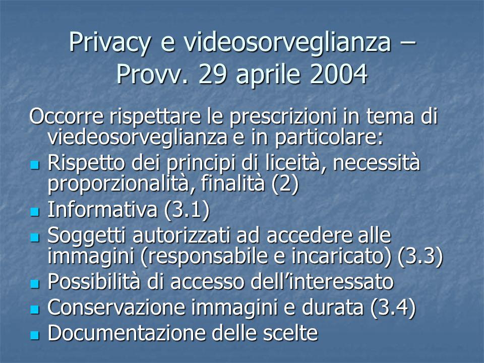 Privacy e videosorveglianza – Provv. 29 aprile 2004 Occorre rispettare le prescrizioni in tema di viedeosorveglianza e in particolare: Rispetto dei pr