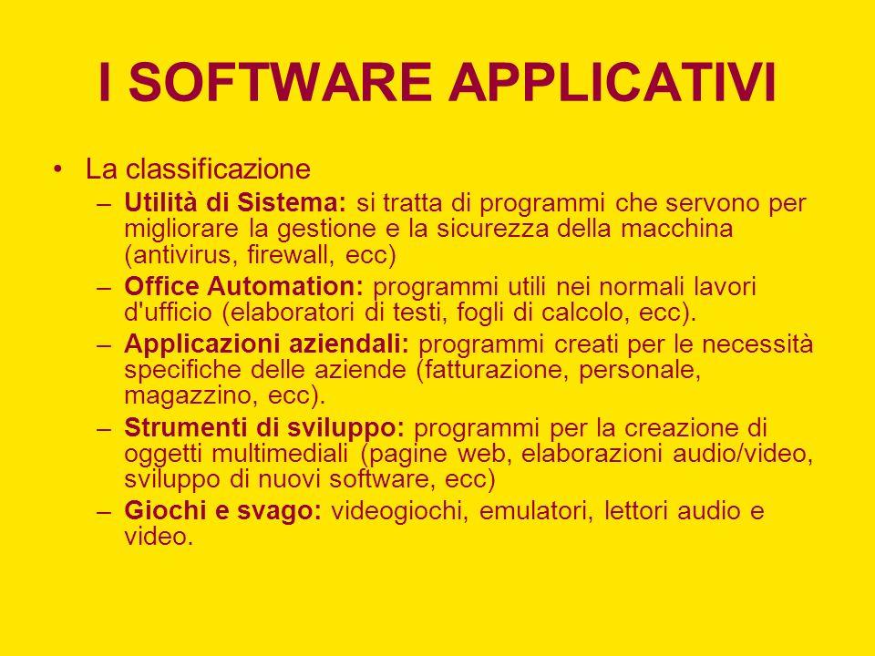 I SOFTWARE APPLICATIVI La classificazione –Utilità di Sistema: si tratta di programmi che servono per migliorare la gestione e la sicurezza della macc