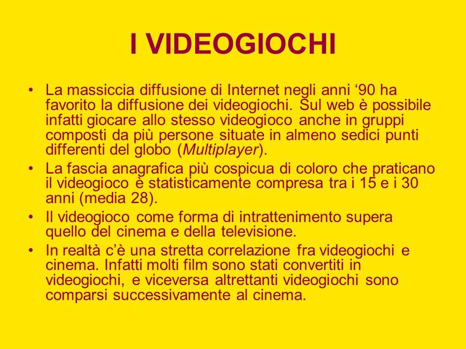 I VIDEOGIOCHI La massiccia diffusione di Internet negli anni 90 ha favorito la diffusione dei videogiochi. Sul web è possibile infatti giocare allo st