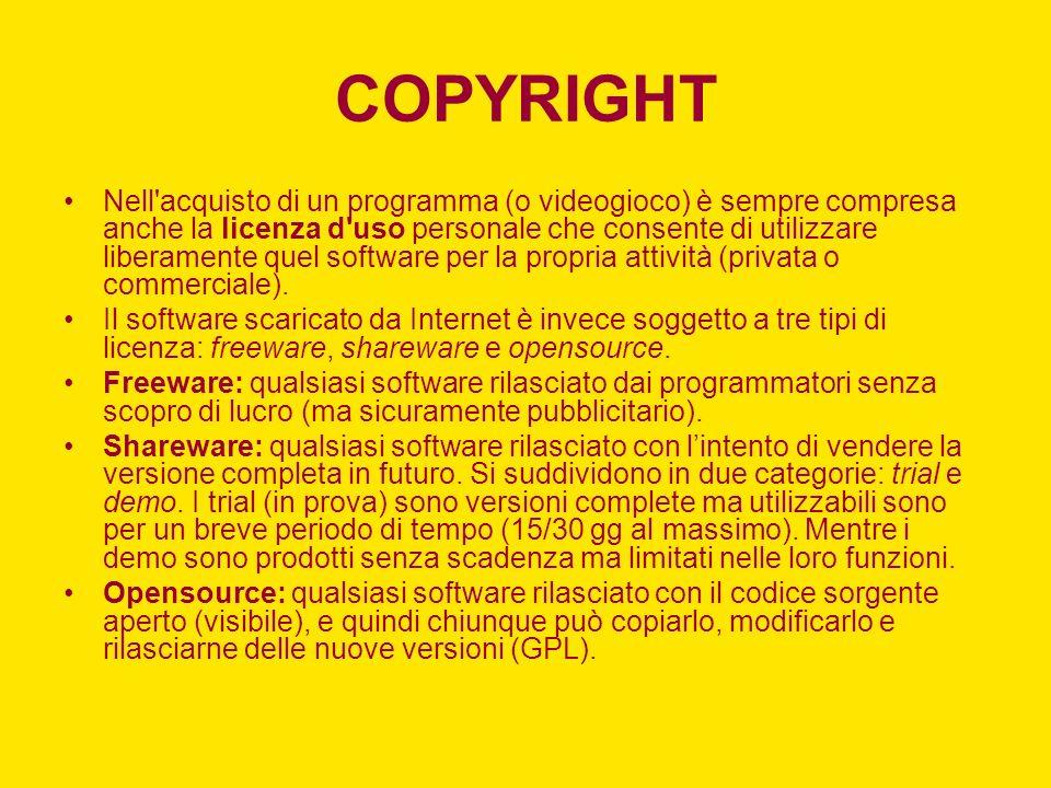 COPYRIGHT Nell acquisto di un programma (o videogioco) è sempre compresa anche la licenza d uso personale che consente di utilizzare liberamente quel software per la propria attività (privata o commerciale).
