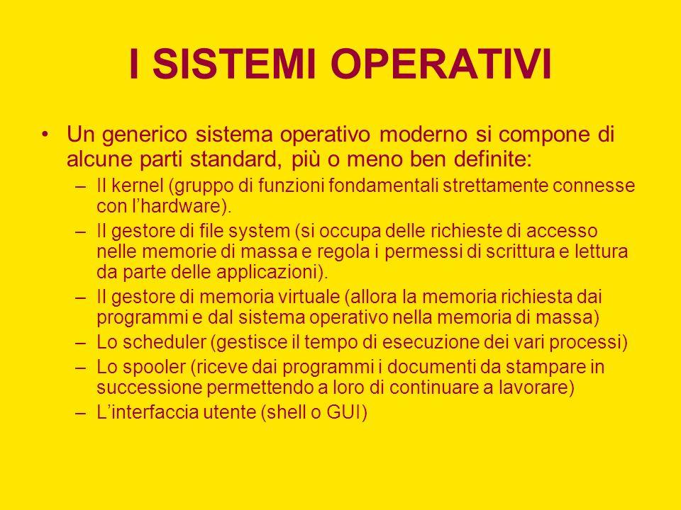 I SISTEMI OPERATIVI Un generico sistema operativo moderno si compone di alcune parti standard, più o meno ben definite: –Il kernel (gruppo di funzioni fondamentali strettamente connesse con lhardware).