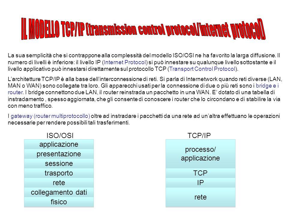 La sua semplicità che si contrappone alla complessità del modello ISO/OSI ne ha favorito la larga diffusione.