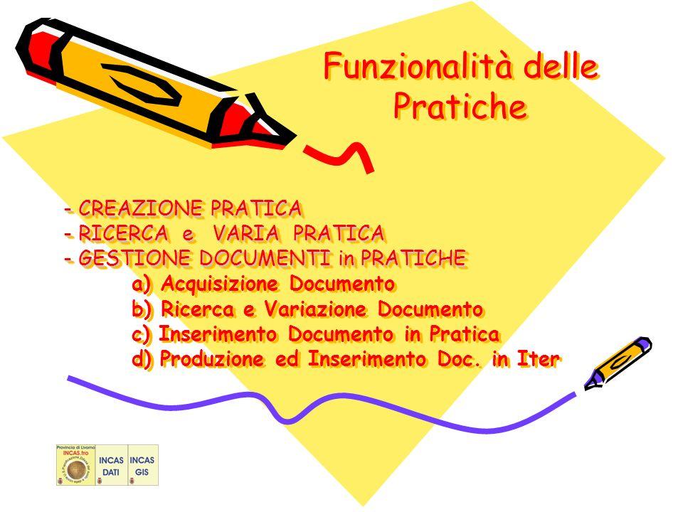 Funzionalità delle Pratiche - CREAZIONE PRATICA - RICERCA e VARIA PRATICA - GESTIONE DOCUMENTI in PRATICHE - CREAZIONE PRATICA - RICERCA e VARIA PRATICA - GESTIONE DOCUMENTI in PRATICHE a) Acquisizione Documento b) Ricerca e Variazione Documento c) Inserimento Documento in Pratica d) Produzione ed Inserimento Doc.