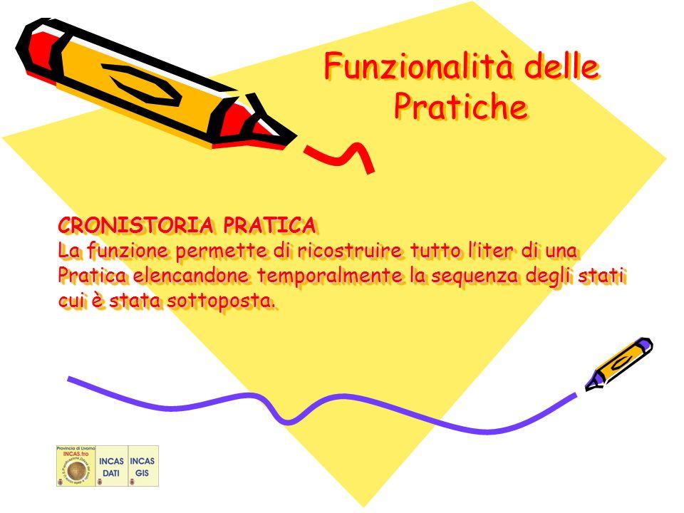 Funzionalità delle Pratiche CRONISTORIA PRATICA La funzione permette di ricostruire tutto liter di una Pratica elencandone temporalmente la sequenza degli stati cui è stata sottoposta.
