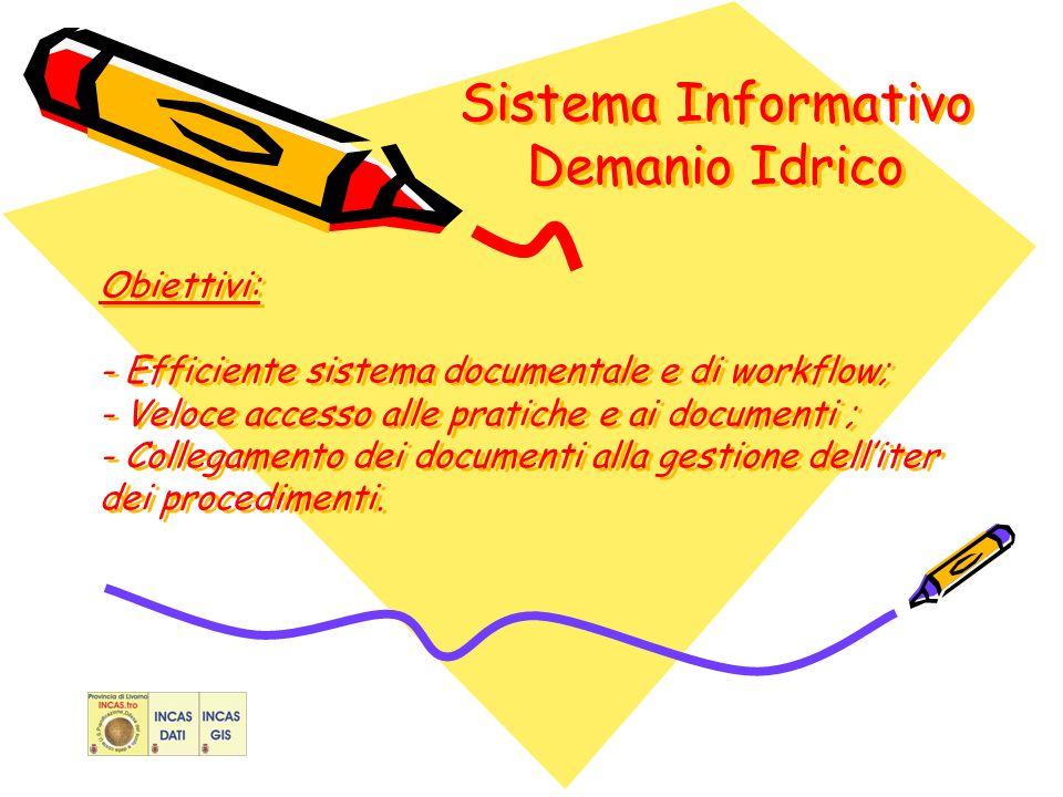 Sistema Informativo Demanio Idrico Obiettivi: - Efficiente sistema documentale e di workflow; - Veloce accesso alle pratiche e ai documenti ; - Collegamento dei documenti alla gestione delliter dei procedimenti.