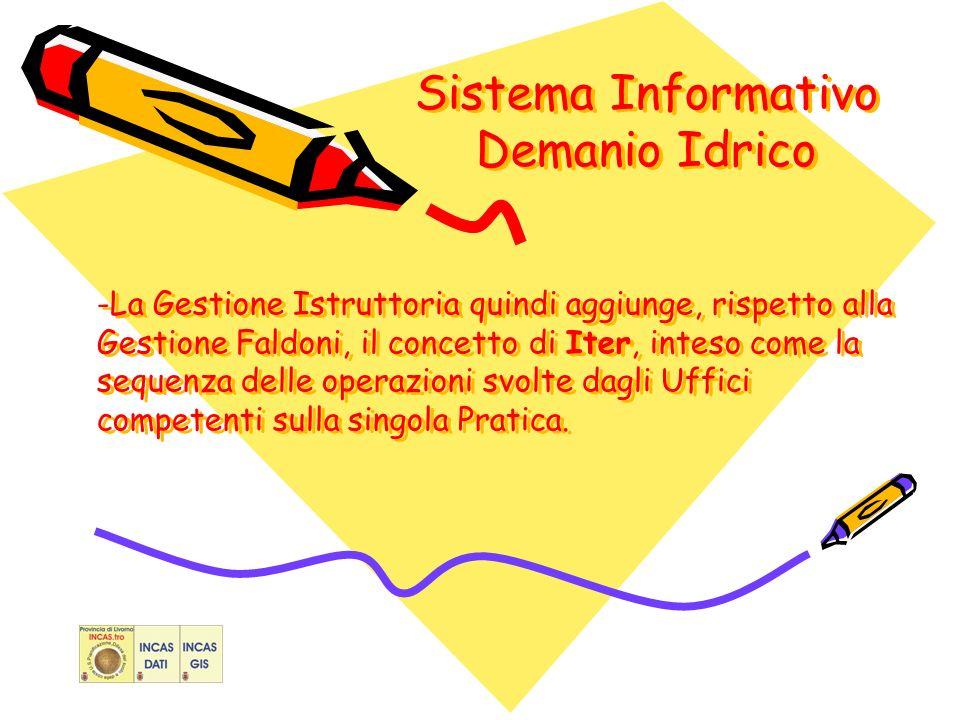 Sistema Informativo Demanio Idrico -La Gestione Istruttoria quindi aggiunge, rispetto alla Gestione Faldoni, il concetto di Iter, inteso come la sequenza delle operazioni svolte dagli Uffici competenti sulla singola Pratica.