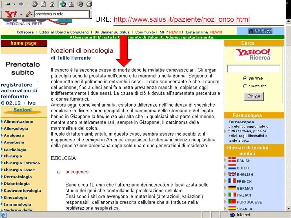 URL: http://www.salus.it/paziente/noz_onco.htmlhttp://www.salus.it/paziente/noz_onco.html