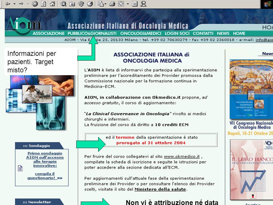 Informazioni per pazienti. Target misto? Non vi è attribuzione né data