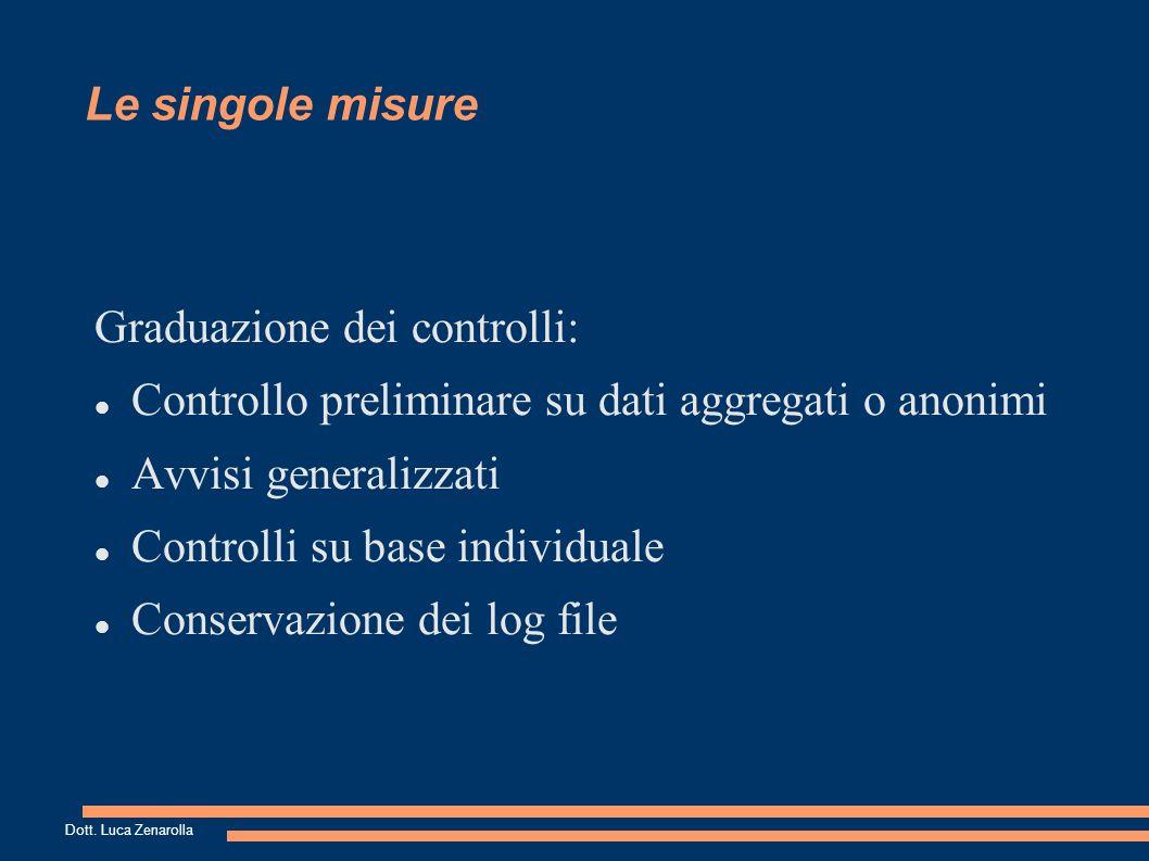 Le singole misure Graduazione dei controlli: Controllo preliminare su dati aggregati o anonimi Avvisi generalizzati Controlli su base individuale Conservazione dei log file Dott.