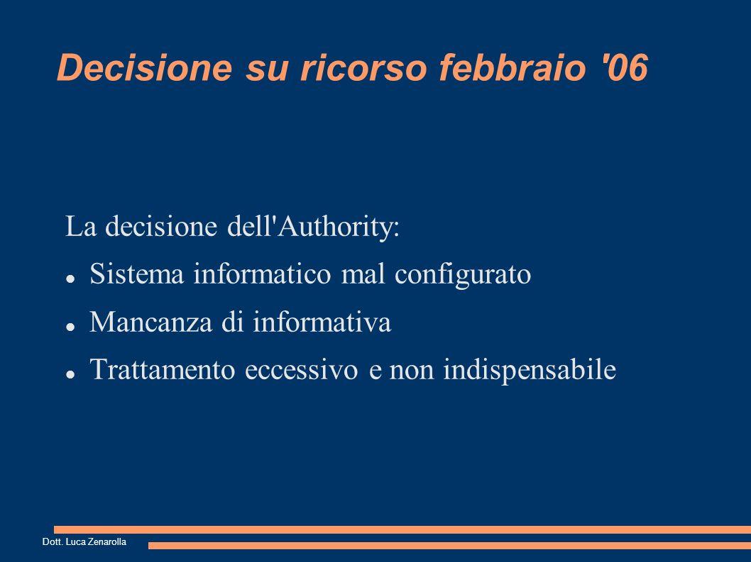 Decisione su ricorso febbraio 06 La decisione dell Authority: Sistema informatico mal configurato Mancanza di informativa Trattamento eccessivo e non indispensabile Dott.