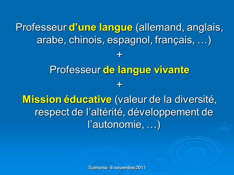 Sulmona - 8 novembre 2011 Professeur dune langue (allemand, anglais, arabe, chinois, espagnol, français, …) + Professeur de langue vivante + Mission éducative (valeur de la diversité, respect de laltérité, développement de lautonomie, …)