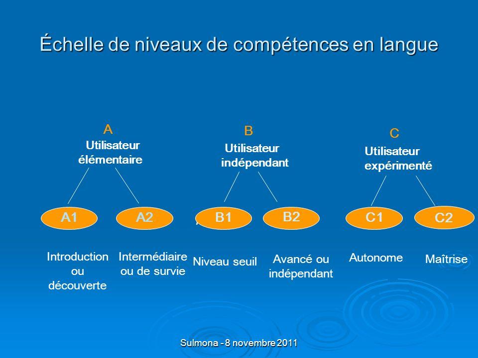 Sulmona - 8 novembre 2011 Division des politiques linguistiques du Conseil de lEurope Cadre européen commun de référence pour les langues (CECR) transparence des niveaux de compétences