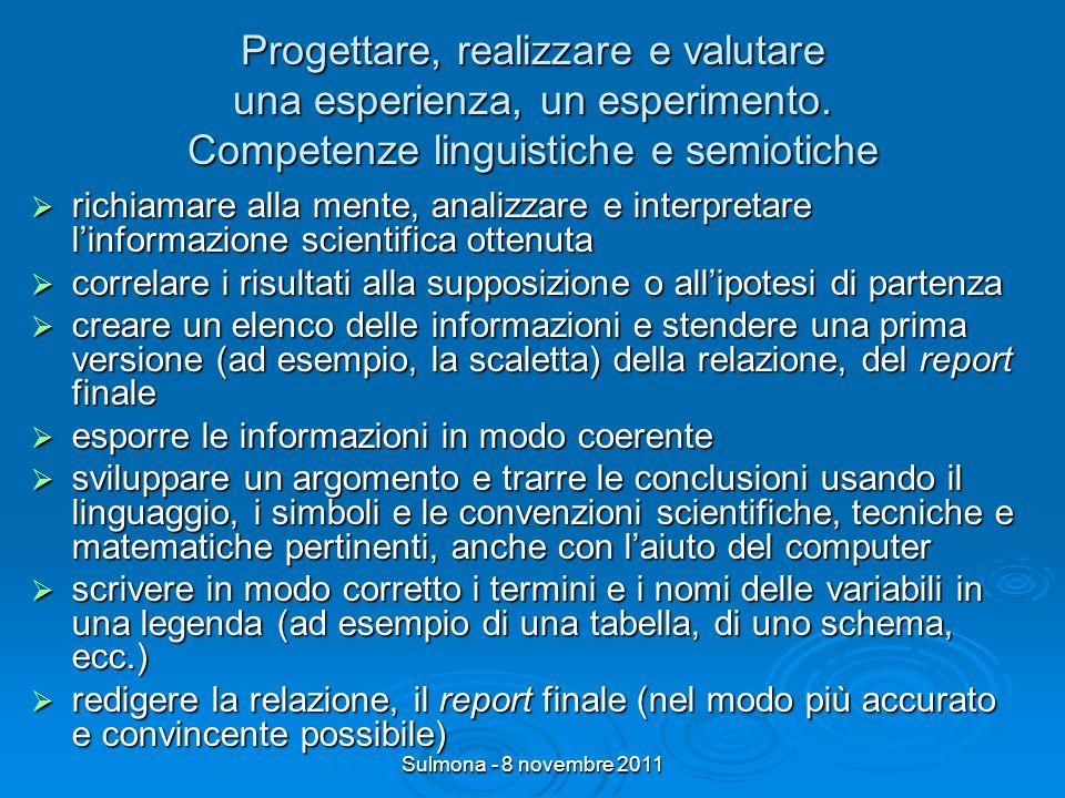 Sulmona - 8 novembre 2011 Progettare, realizzare e valutare una esperienza, un esperimento.