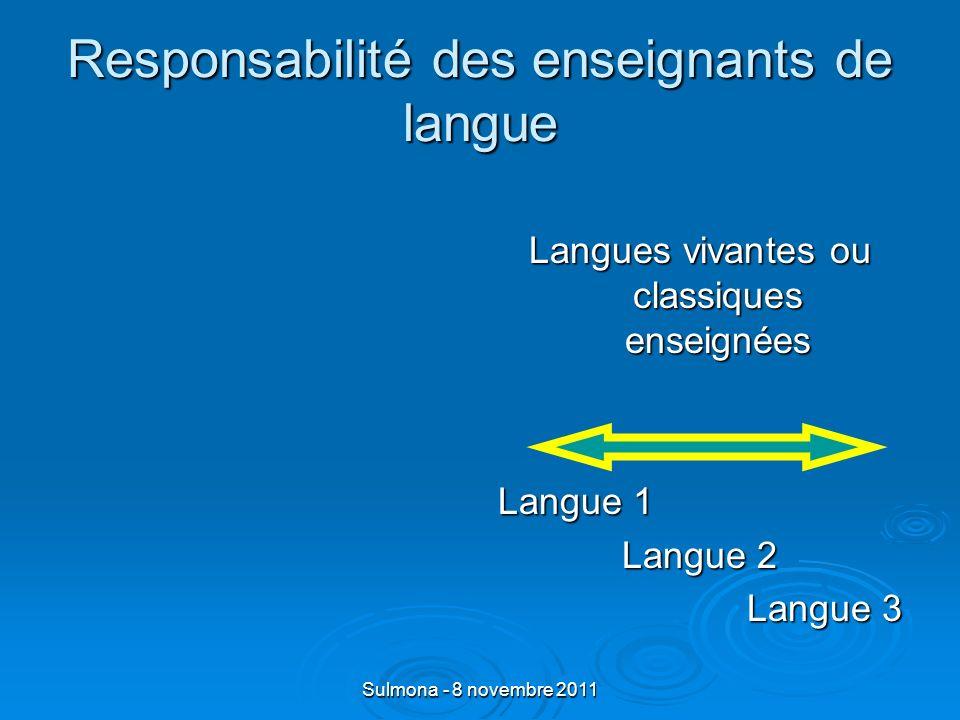 Sulmona - 8 novembre 2011 Responsabilité des enseignants de langue Langues vivantes ou classiques enseignées Langue 1 Langue 2 Langue 3