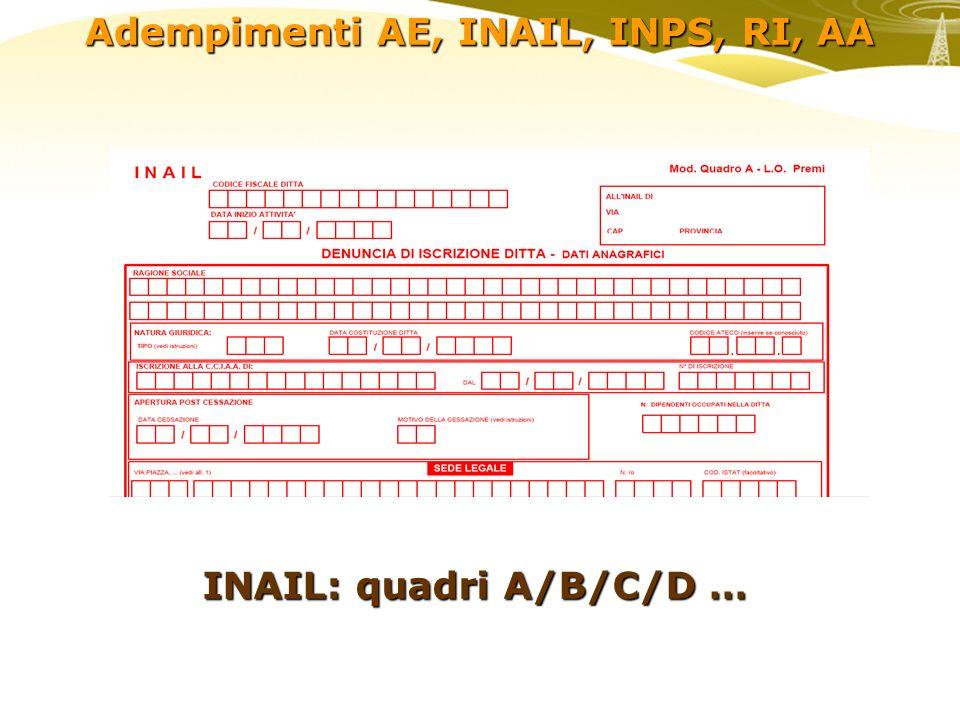 Adempimenti AE, INAIL, INPS, RI, AA INAIL: quadri A/B/C/D …