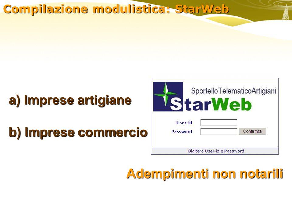 Compilazione modulistica: StarWeb a) Imprese artigiane b) Imprese commercio Adempimenti non notarili