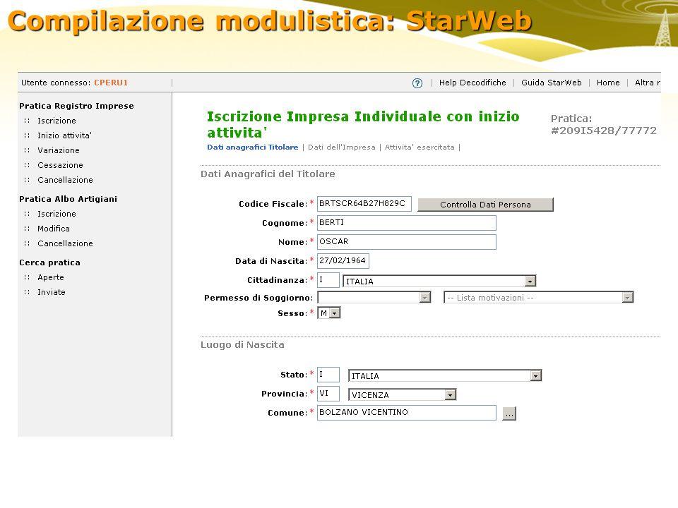 Compilazione modulistica: StarWeb