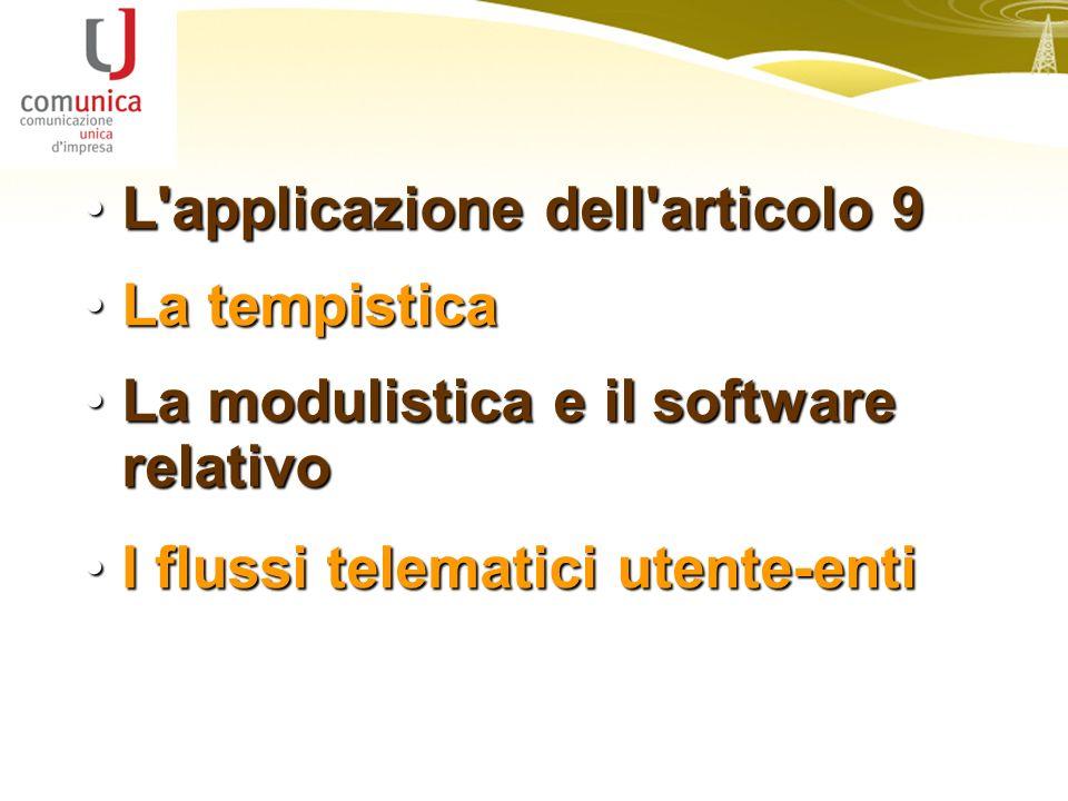 L applicazione dell articolo 9L applicazione dell articolo 9 La tempisticaLa tempistica La modulistica e il software relativoLa modulistica e il software relativo I flussi telematici utente-entiI flussi telematici utente-enti