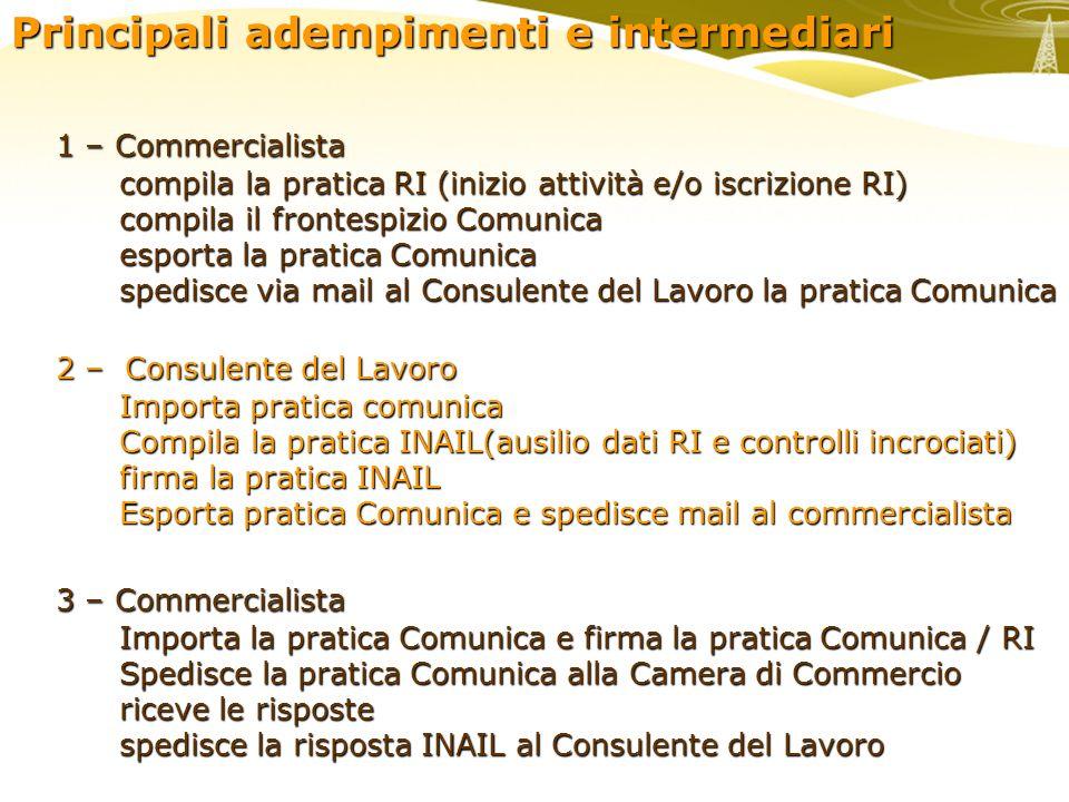 Principali adempimenti e intermediari 1 – Commercialista compila la pratica RI (inizio attività e/o iscrizione RI) compila la pratica RI (inizio attiv