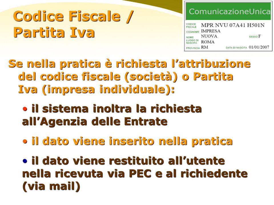 Se nella pratica è richiesta lattribuzione del codice fiscale (società) o Partita Iva (impresa individuale): il sistema inoltra la richiesta allAgenzi