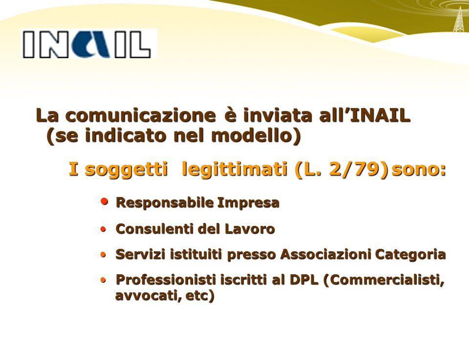 La comunicazione è inviata allINAIL (se indicato nel modello) La comunicazione è inviata allINAIL (se indicato nel modello) I soggetti legittimati (L.