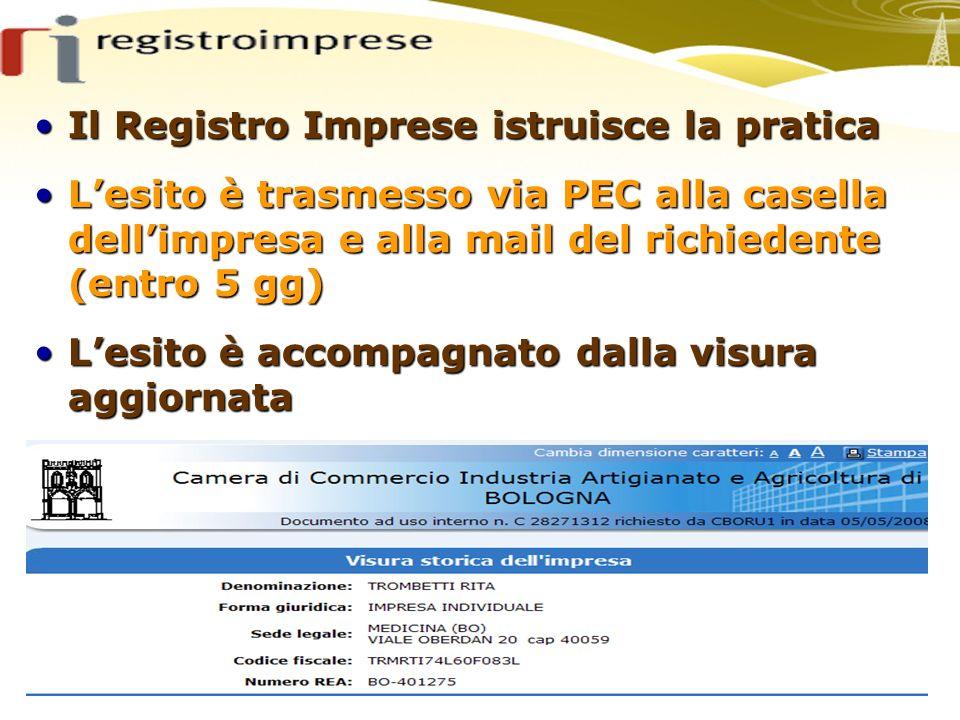Il Registro Imprese istruisce la praticaIl Registro Imprese istruisce la pratica Lesito è trasmesso via PEC alla casella dellimpresa e alla mail del r
