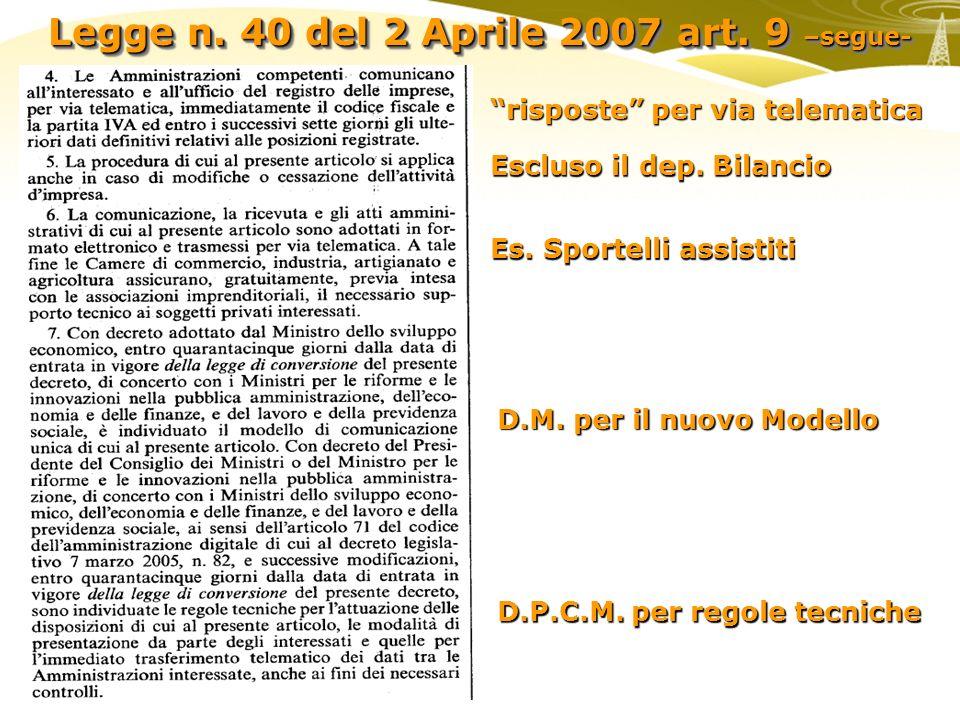 Legge n. 40 del 2 Aprile 2007 art. 9 –segue- risposte per via telematica D.M. per il nuovo Modello D.P.C.M. per regole tecniche Es. Sportelli assistit