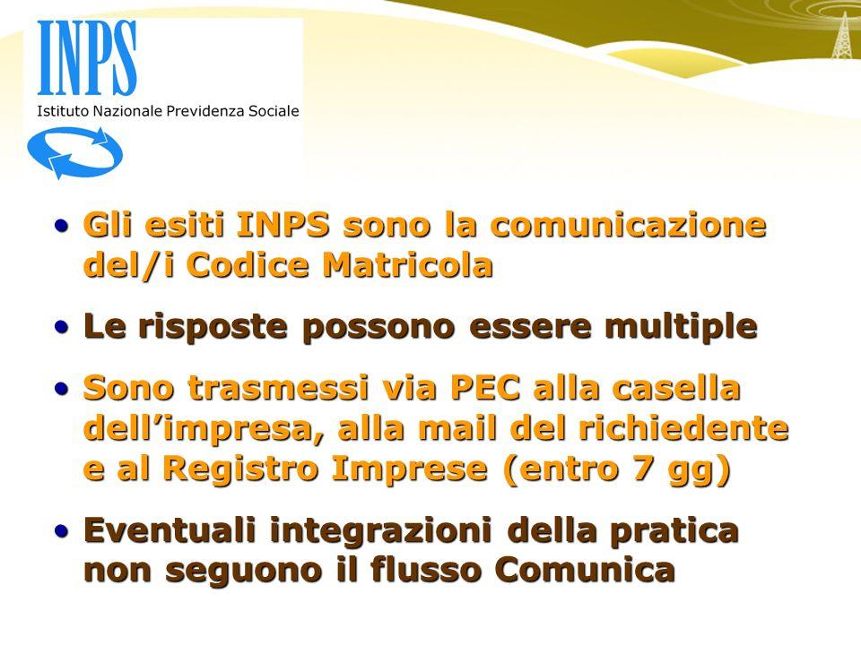 Gli esiti INPS sono la comunicazione del/i Codice MatricolaGli esiti INPS sono la comunicazione del/i Codice Matricola Le risposte possono essere multipleLe risposte possono essere multiple Sono trasmessi via PEC alla casella dellimpresa, alla mail del richiedente e al Registro Imprese (entro 7 gg)Sono trasmessi via PEC alla casella dellimpresa, alla mail del richiedente e al Registro Imprese (entro 7 gg) Eventuali integrazioni della pratica non seguono il flusso ComunicaEventuali integrazioni della pratica non seguono il flusso Comunica