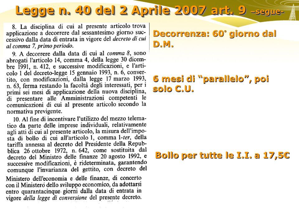 Legge n. 40 del 2 Aprile 2007 art. 9 –segue- Decorrenza: 60° giorno dal D.M. Bollo per tutte le I.I. a 17,5 6 mesi di parallelo, poi solo C.U.