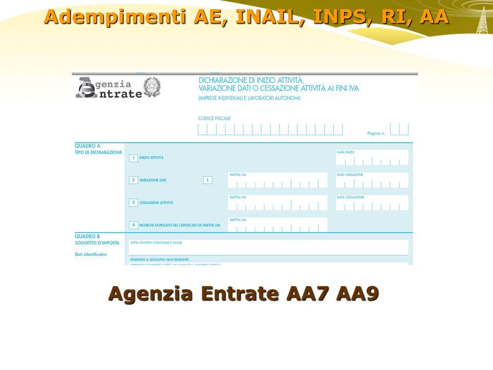 Adempimenti AE, INAIL, INPS, RI, AA Agenzia Entrate AA7 AA9