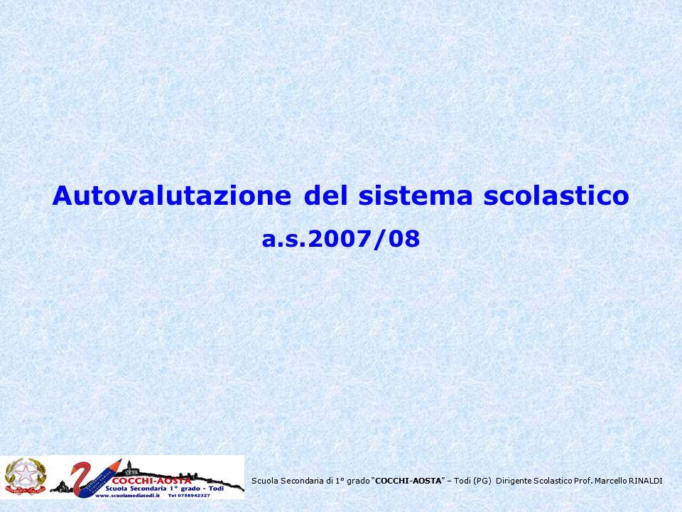 Scuola Secondaria di 1° grado COCCHI-AOSTA – Todi (PG) Dirigente Scolastico Prof. Marcello RINALDI Autovalutazione del sistema scolastico a.s.2007/08
