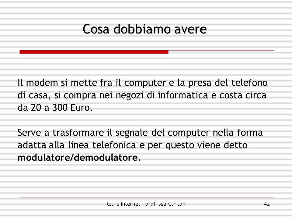 Reti e internet prof. ssa Cantoni41 Un computer, un modem, i programmi per collegarci ad Internet.