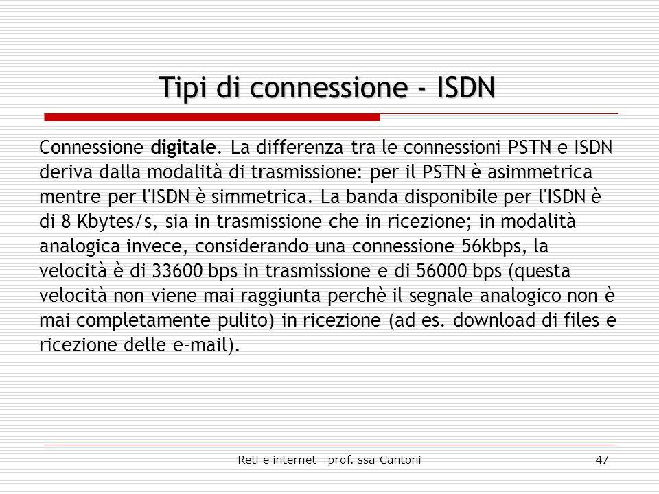 Reti e internet prof. ssa Cantoni46 Connessione analogica con velocità che arriva a 56 Kbps.