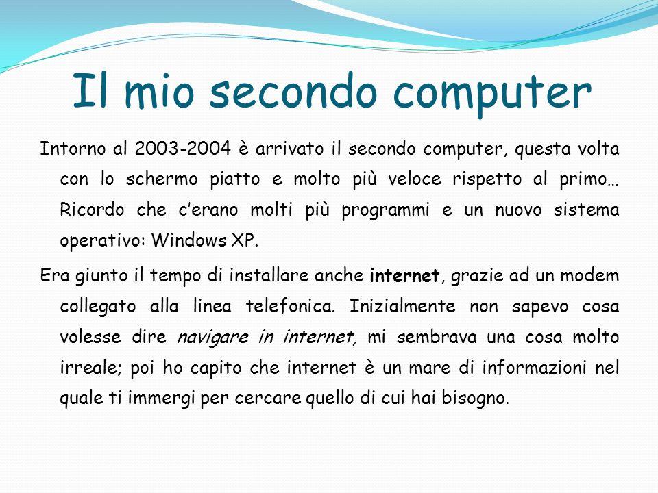 Il mio secondo computer Intorno al 2003-2004 è arrivato il secondo computer, questa volta con lo schermo piatto e molto più veloce rispetto al primo…