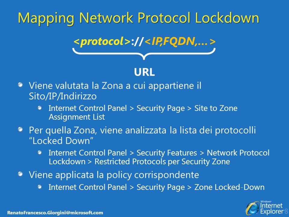 RenatoFrancesco.Giorgini@microsoft.com Mapping Network Protocol Lockdown Viene valutata la Zona a cui appartiene il Sito/IP/Indirizzo Internet Control