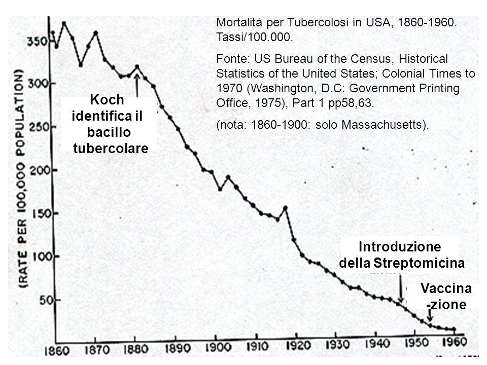 Vaccina -zione Introduzione della Streptomicina Koch identifica il bacillo tubercolare Mortalità per Tubercolosi in USA, 1860-1960. Tassi/100.000. Fon
