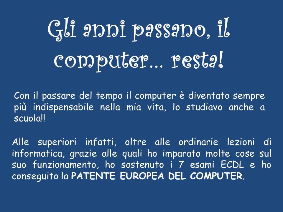 Con il passare del tempo il computer è diventato sempre più indispensabile nella mia vita, lo studiavo anche a scuola!.